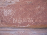 Old rock carvings on the White Reef Trail.