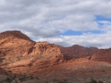 A panoramic shot taken in the Red Cliffs National Recreation Area. this is looking towards Dick's Canyon.