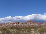 A panoramic shot taken in the Red Cliffs National Recreation Area.This is looking north toward the Pine Valley Mountains.