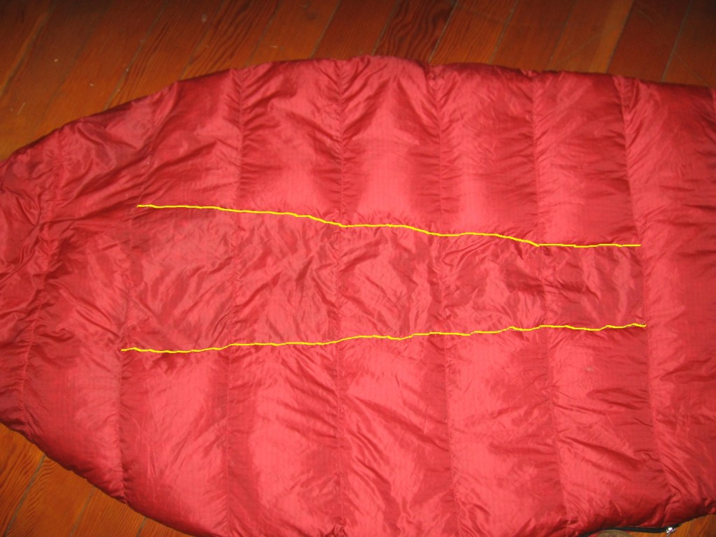 Completed bag.The stitch lines are marked in yellow.
