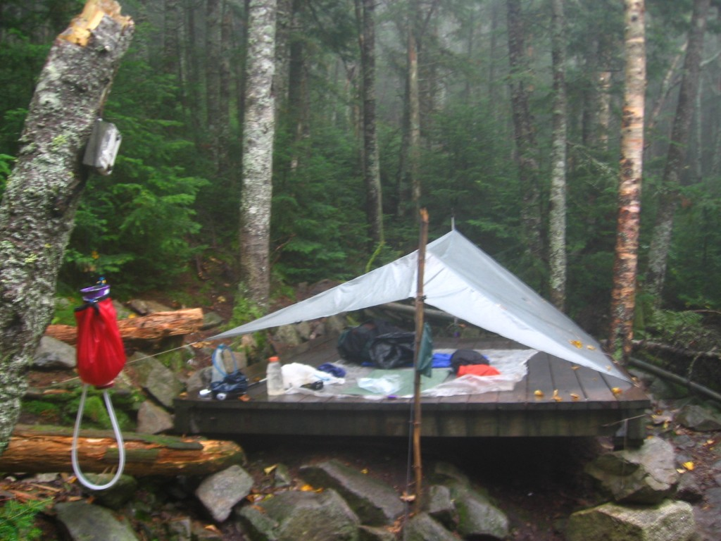 The Ray Way Tarp set up on a tent platform in the White Mountains of New Hampshire.