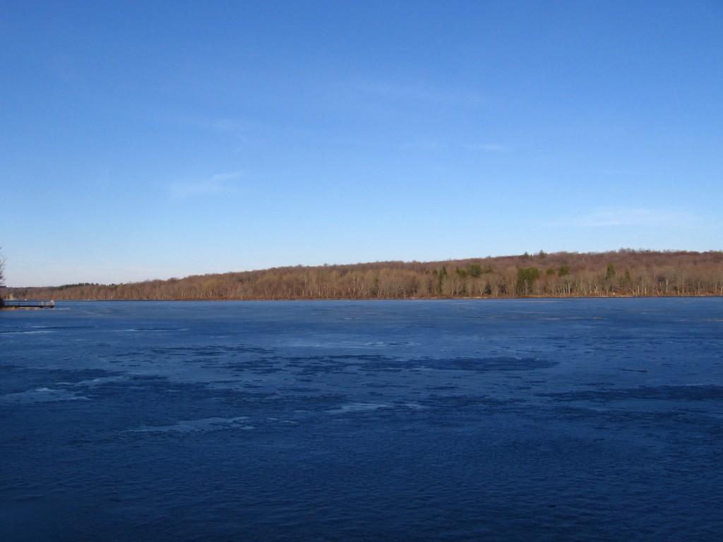 A still frozen Gouldsboro Lake.