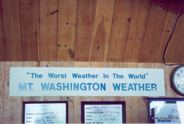 Mt. Washington Visitors Center Weather Board