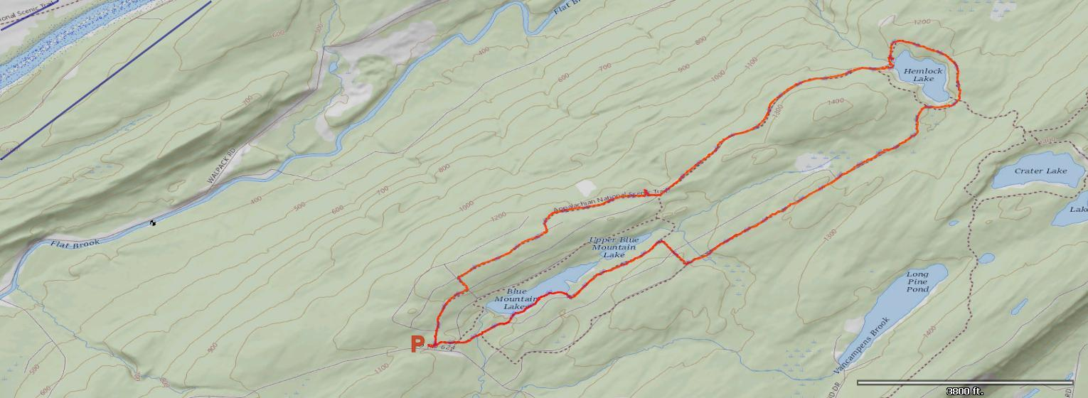 Map of Blue Mountain Lakes Trail.